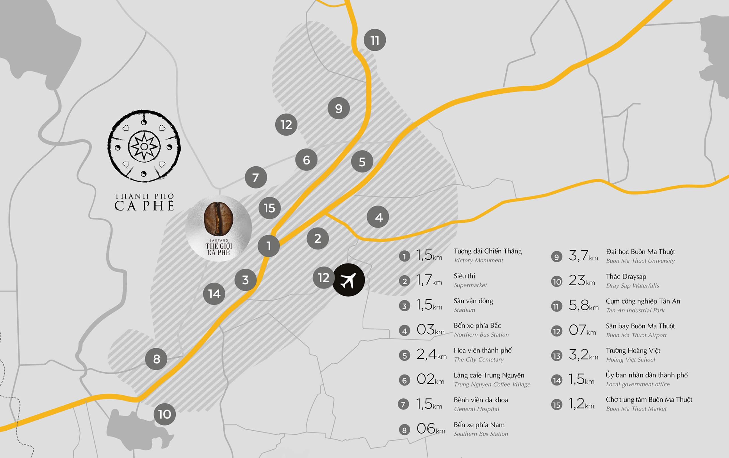 Vị trí dự án khu đô thị Thành Phố Cà Phê The Coffee City Đăk Lăk